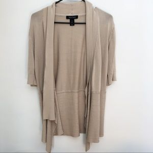 WHBM  / oatmeal short sleeve cardigan / XL